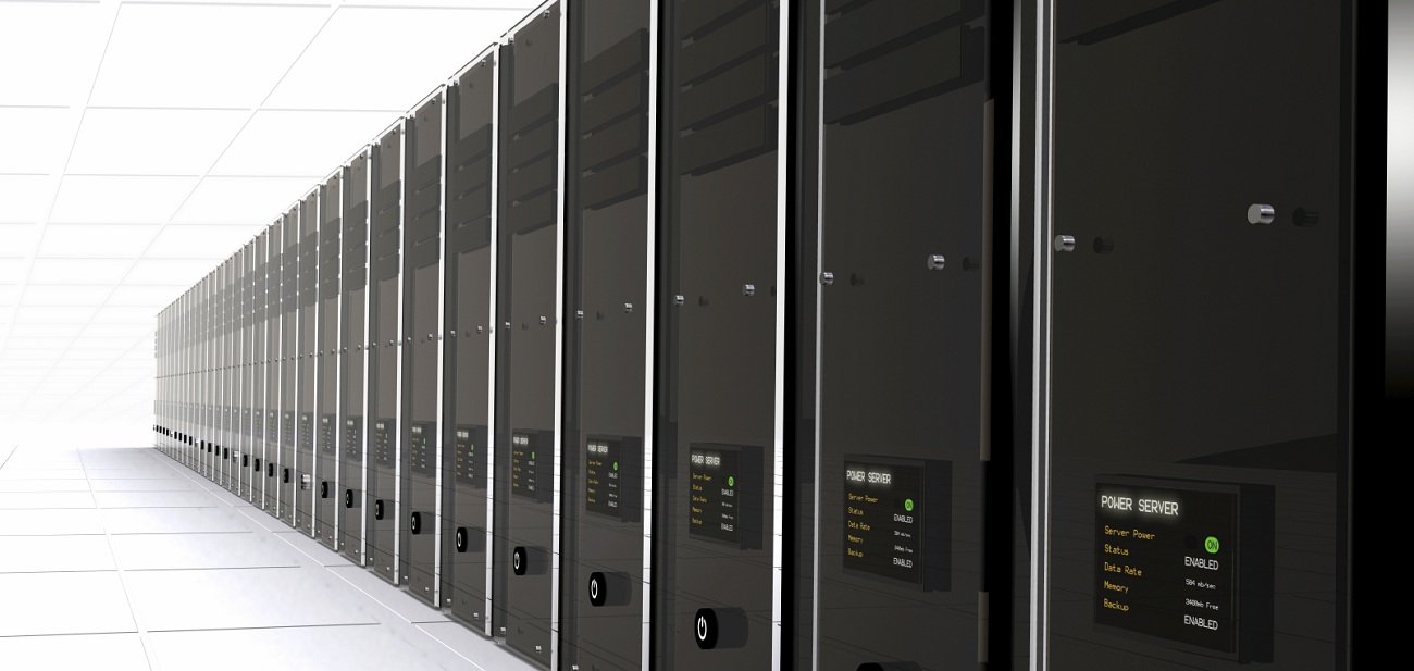 3d computer servers in a data center - good perspective